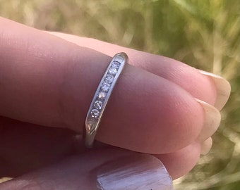 Special Hand Forged Blue diamond Recycled Palladium Sterling Ring Size 8 Ready to Ship