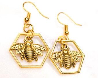 Honeybee Hexagon Earrings