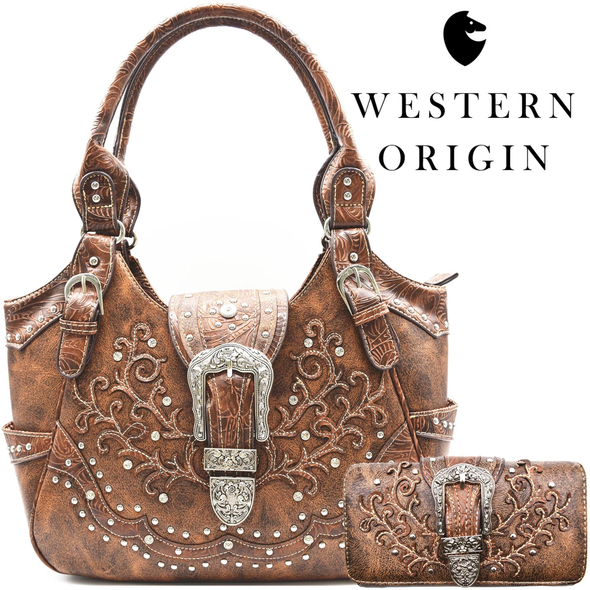 Western Style Concealed Carry Purse Buckle Country Large Tote Handbag Women Shoulder Bag Wallet Set Brown