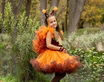 Little girl squirrel outfit Baby orange dress Halloween costume Toddler squirrel tutu dress  Hair accessory Tulle skirt Personalised t shirt