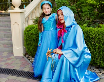 Fairy Godmother Costume Cape with magic stick, two sides blue and pink