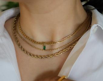 18K GOLD FILLED Vintage Choker Necklace Women Choker Necklace, WATERPROOF Gold Gift Jewelry Anti Tarnish Gemstone Zircon Necklace