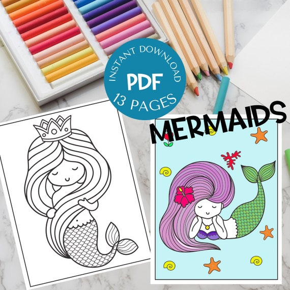 Mermaid Coloring Pages 13 Pages to Color Instant Download