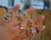 Crystal Rings, Rings, Dainty Wire Wrapped Rings