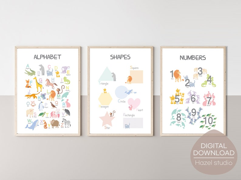 Educational Posters Set of 3 AlphabetShapes Numbers Prints image 0