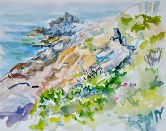 """Watercolor of Giant Steps, Bailey Island, Maine.  8""""X10"""" giclee print. Matted in a 11""""X14"""" matte"""
