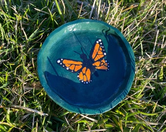 Pinch Bowl Wedding Ring Holder Jewelry Dish Butterfly Clay Trinket Dish Embossed Clay For Her Ring Dish Papillon Jewellery Plate