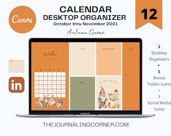 Fall Desktop Wallpaper, Calendar Desktop Organizer, Editable Canva Template, Autumn Gnome, CUSTOM Wallpaper, Mac PC Folders, & Icons