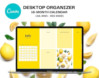 2021 - 2022 Desktop Calendar Wallpaper Organizer, 18 Month Planner, Editable Canva Template, CUSTOM Desktop Wallpaper, Lemons