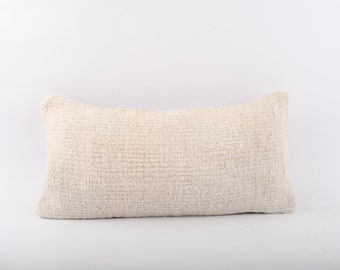 Wool Kilim Pillow, Turkish Kilim Pillow, Hemp Kilim Pillow, Kilim Lumbar Hemp Kilim Pillow, Home Decor, 12x24 Pillow Cover, Cushion Cover