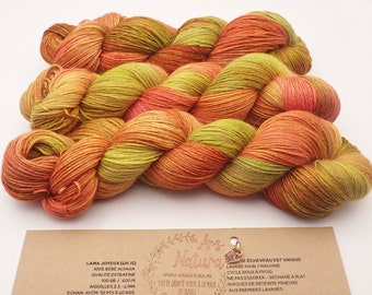"Happy Llama ""Erable"", Wool 100% Baby Alpaca dyed by hand, unique skein. Diam. Fingering / Single - 100g -400m"