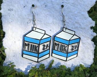 spilled blue milk earrings
