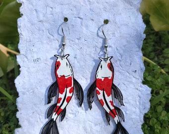 Fish Lovers Gift Zen Garden Red White Black Colorful Koi Fish Garden with Fresh Water Pearl Dangled Drop Earrings Handmade Zen Earrings