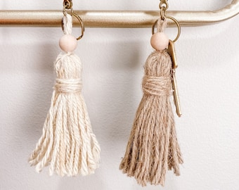 Boho Tassel Keychain Available in Natural & Ivory
