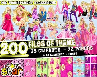 Barbie Clipart Barbie PNG Barbie Paper Barbie Digital Paper Barbie Birthday Barbie Party Supplies