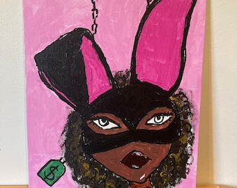 Play bunny blm international women's day acrylic painting on canvas