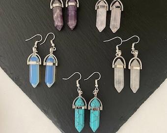 Crystal Point Dangle Earrings Amethyst Rose Quartz Clear Quartz Turquoise Opalite Natural Gemstone Semi Precious Healing Silver Plated Drop