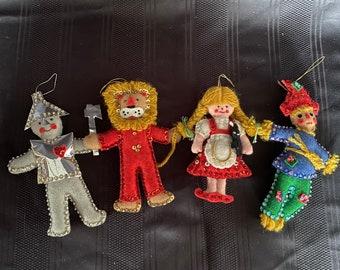 Vintage handmade Bucilla felt and sequin Wizard of Oz Christmas ornaments