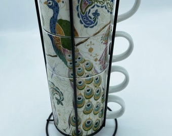 Peacock Set of 4 Tea Coffee Mug Cups with Stand