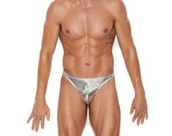 Silver Metallic mens thong underwear