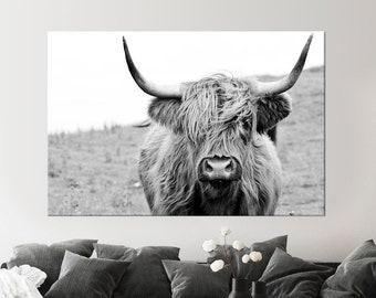 Highland cow canvas wall art Farmhouse decor Cow Black White print Rustic wall decor Animals painting Scottish cow wall art