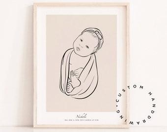Baby Portrait Digital Hand Drawn Custom NEWBORN Portrait PNG File Watercolor Portrait Nursery Portrait PDF File