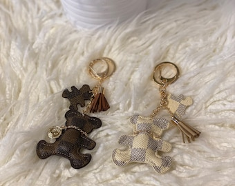backpack or diaper bag leopard print mama beads for your purse bear charm Mama Bear keychain mama gift