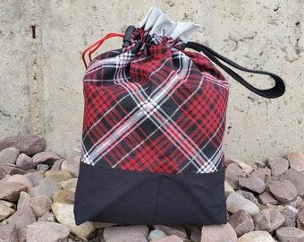 School Days Reversible KnittingCrochetCraft Drawstring Project Bag