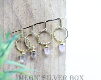 Silver Stainless Steel Statement Point with White Clear Natural Gemstone Points Gold Dipped Amethyst Crystal Hoop Earrings