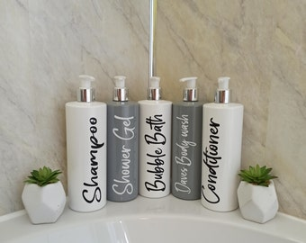 Mrs Hinch Pump Bottles 500ml Grey Black White Blue Personalised Bathroom Kitchen
