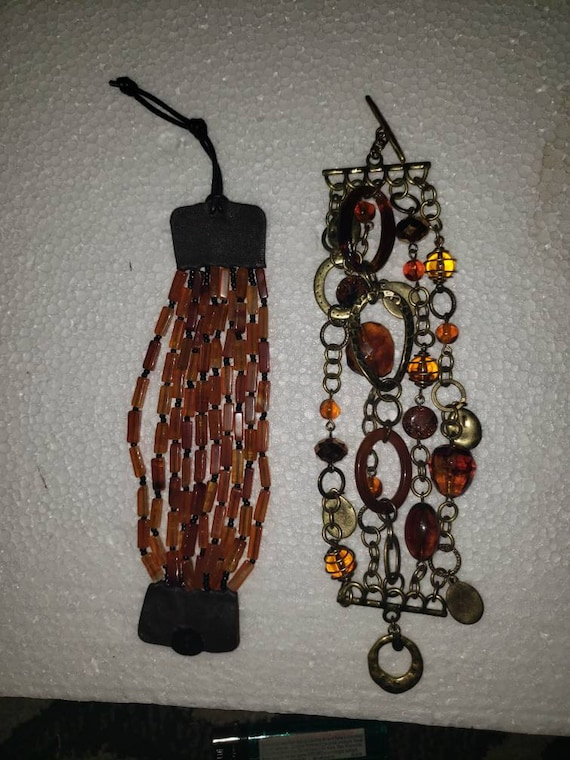 Vintage faux silver blue dimonte beads wedding retro hippy  bead  boho bangle bracelet jewelry  jewellery