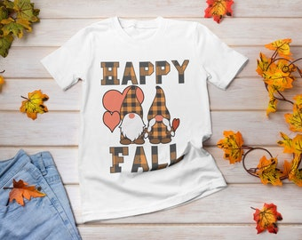 Gnomes Happy Fall Tshirt, playful fun, attention-getting, cheerful, bold fall-colored plaid, red hearts, feeling of fun warmth and happiness