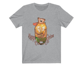 ThanksGiving Bear tshirt, sweet adorable cuddly bear offering flowers, red heart, blessings, thanks appreciation gift, thankful thanksgiving