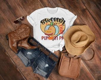 Thanksgiving Tshirt, Fun Sweeter than Pumpkin Pie Tee, Big Orange Pumpkin, Big Orange Heart, Loved Ones, Pie Lover, Gratitude