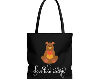 Teddy Bear Canvas Tote Bag with a Soft Gentle Teddy Bear Offering a Sweet Loving Message and Holding a Red Heart