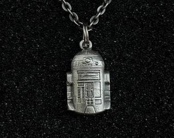 R2-D2 Hex3D Fan Art Tiki Sterling Silver Pendant