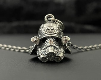 Samurai Storm Trooper Helmet Hex3D Fan Art Sterling Silver Pendant