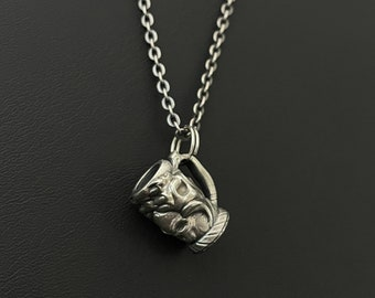 Fantasy Skull Hex3D Fan Art Sterling Silver Mini Mug / Pendant / Charm