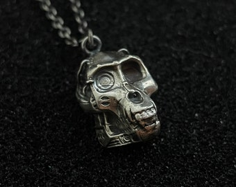 Steampunk Monkey Skull Hex3D Sterling Silver Pendant