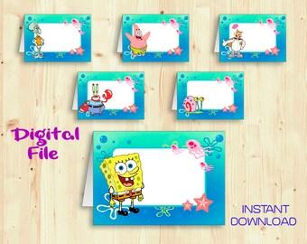 Sponge bob food labels printable instant download sponge bob birthday food tent cards food table labels party decor