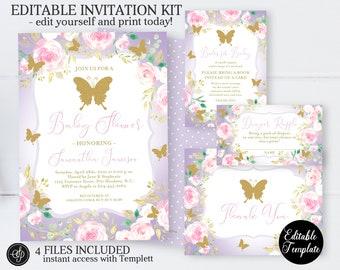Purple Butterfly Baby Shower Invitation Bundle, Floral Butterfly Invitation Kit, Garden Baby Shower, EDITABLE, Instant Download, SP0072