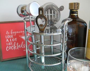 Vintage Smoked Glass Drink Mixer set of 4 Vintage Barware