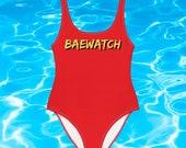 BAEWATCH BAE WATCH One-Piece Swimsuit Bay Watch Baywatch Bathing suit SwimWear Beachwear Pool 80s 90s nostalgia