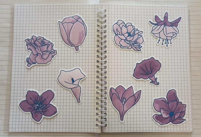 spring flowers / matte sticker pack  journaling  image 0