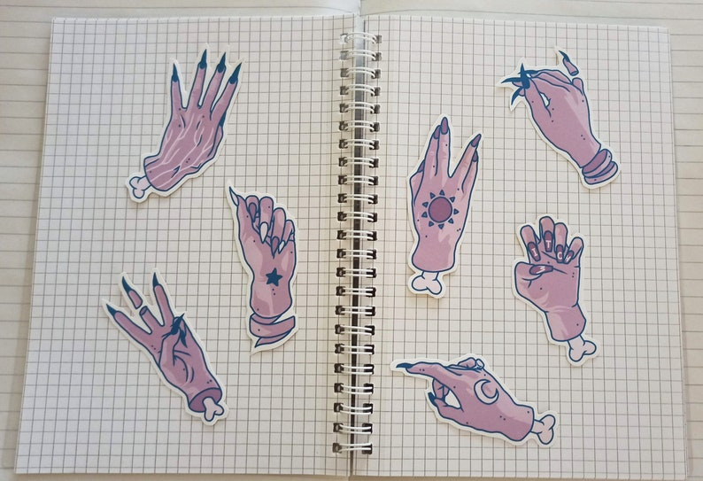 witchy hands / matte sticker pack  journaling  scrapbooking image 0