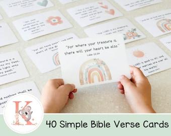 40 Bible Verse Cards    Scripture Verse   Bible Verse Card   Rainbow   Kids   Simple Scripture Memory cards   KJV