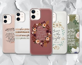 Bible Verses Christianity Quotes Phone Case Floral Cover for iPhone 12 Pro, 11, XR, XS, 8+ Samsung S10, S21, A50, A51, Huawei P20, P30