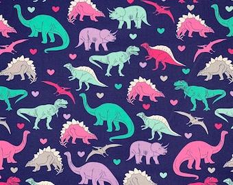 Pastel Girly Dinosaurs on Navy Print Novelty Cotton Fabric