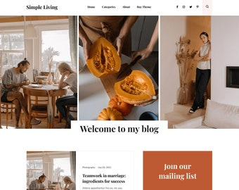 Premade responsive blogger template, Responsive Blogger Theme, Blogger Theme, Minimalist + Free Installation - Simple Living