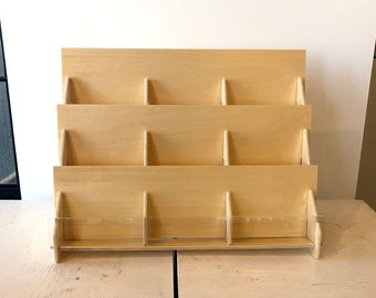 Counter Top Retail Card Display Stand Made With Birch Plywood And Clear Acrylic With 9-Pockets on 3 levels